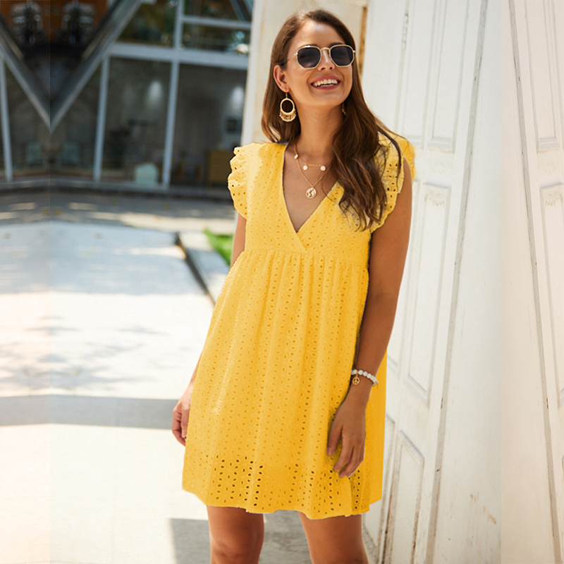 Solid Hollow Out  Short Dress Women New Sexy V Neck Butterfly Sleeve Hollow Lace Dress Casual Loose Summer Women Dress 2