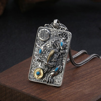 2019 Men Women Pendant Real 925 Sterling Silver Lucky Fortune Brave Troops Inlaid turquoise Necklace Pendant fine Jewelry Gifts