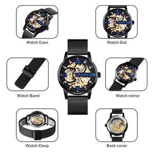 Image 4 - SKMEI Reloj de pulsera automático para hombre, creativo, mecánico, con esfera DE ARTE hueca, correa de acero sin cadena, 9199