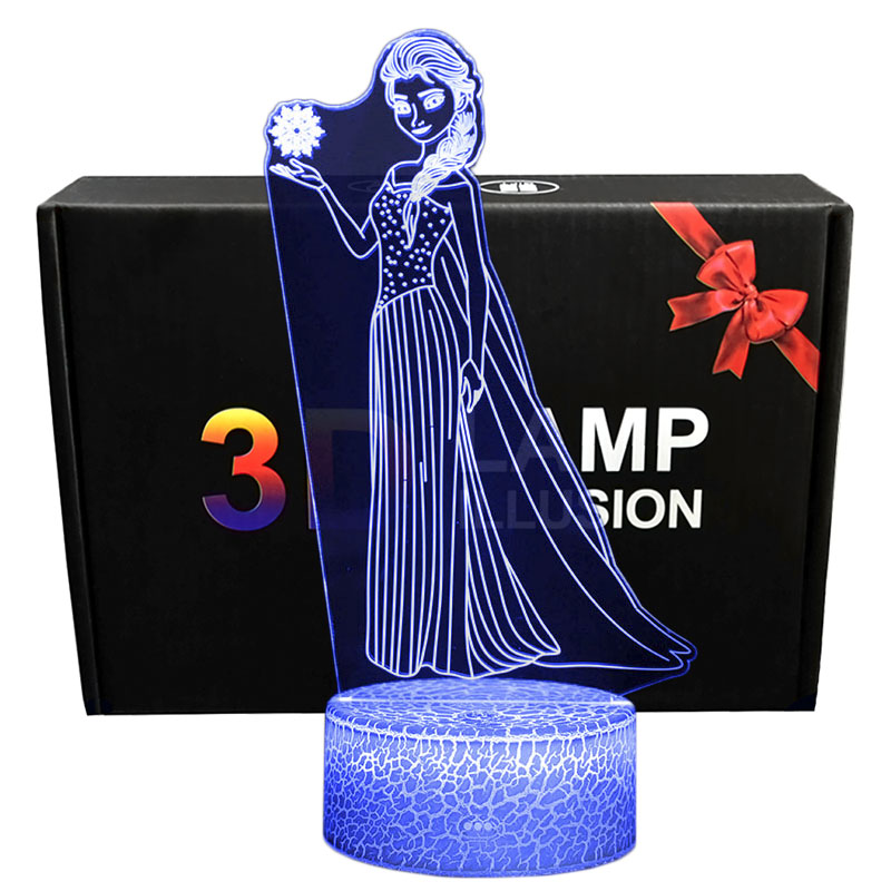 3D Illusion Princess Elsa Desk Lamp Touching LED Night Light Home Room Snow Queen Elsa Lampen Decoration Creative Table Lamps