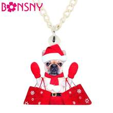 Bonsny Acrylic Christmas Sweet Shopping French Bull Dog Necklace Pets Jewelry Festival Decoration Charm Gift For Lady Girls Kids(China)