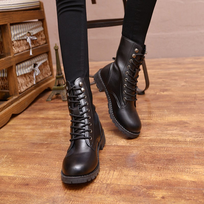Women Round Toe Flat Over the Knee Boots Zipper Black Patchwork Winter Shoes