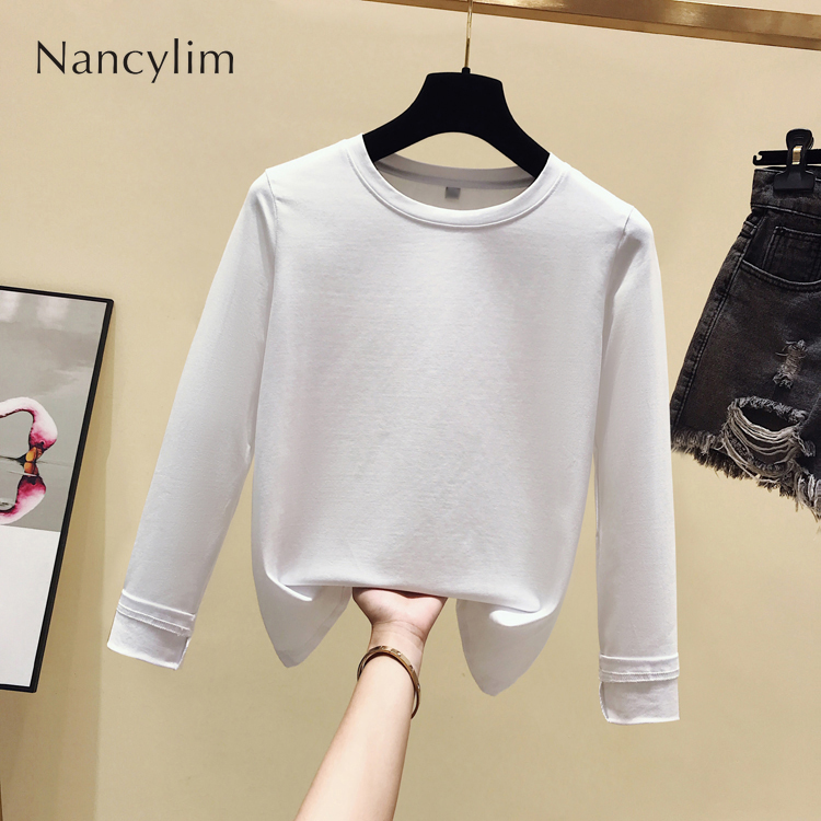 2019 Autumn New Cotton Long Sleeve T-shirt Slim White T Shirts Female Lady All-match Basic Tops Pull Femme 5 Colors Nancylim