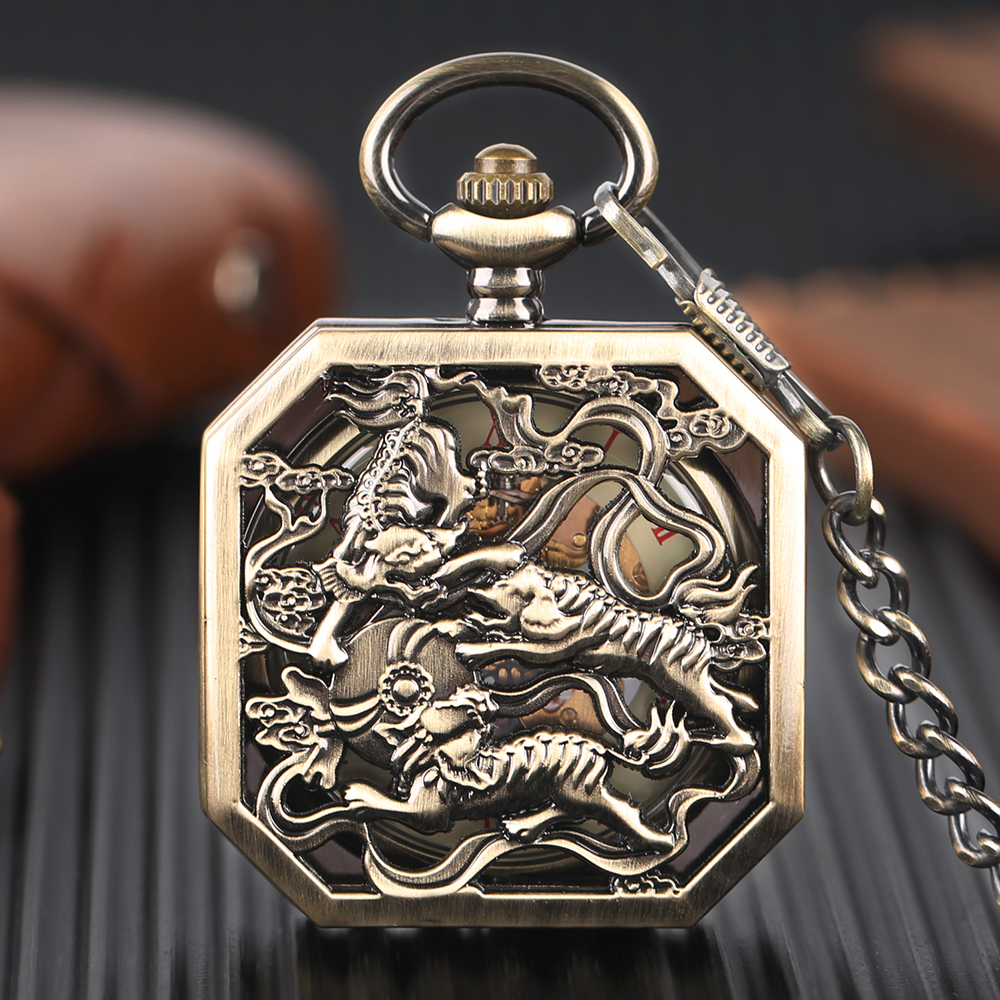 Square Pocket Watch Men Mechanical Hand Wind Clock Chain Tiger Carving Copper Silver Bronze Skeleton Steampunk Men Accessory