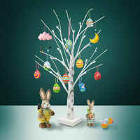 60cm Hot Easter Tree With 24 LED Lights White Light Up Mini Twig Tree Lamp Decorations for Hanging Easter Eggs Hang Ornaments