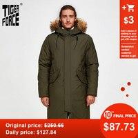Tiger Force Oversize Men Winter Parkas Business Casual Men Medium long Overcoat Men's Hooded Thick Coat Big Pocket Male Jacket