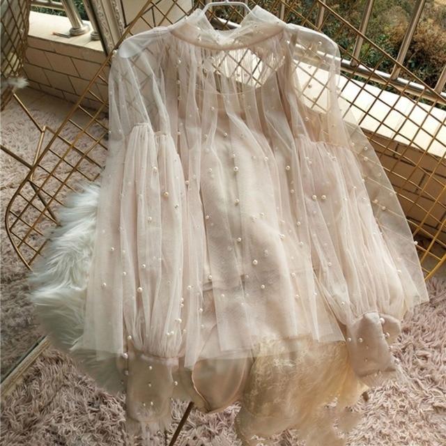 Spring Beading Mesh Blouses Women Sweet Lantern Sleeve Pearls Gauze Blouses Ladies Elegant Shirt Tops Stand Collar Chiffon S-2XL 5