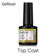 Gelfavor Top Coat Gel Nail Polish 8ml Transparent Long Lasting Manicure UV Primer Gel Lacquer Nail Art Base Coat