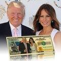 Золотая банкнота 24k Дональд Трамп и первая леди Мелания металлические позолоченные бумажные деньги для рождественских подарков и коллекци...