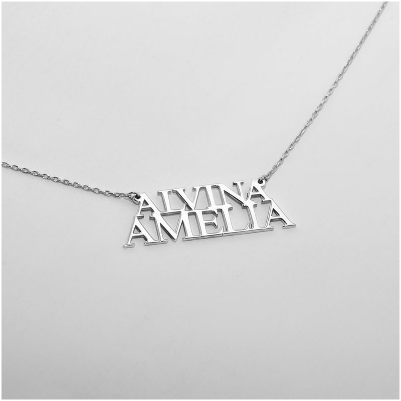 Two Name Necklace Personalized Jewelry Gift For Her Bridesmaids Mother