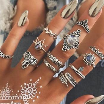 15 Pcs/set Women Fashion Rings Hearts Fatima Hands Virgin Mary Cross Leaf Hollow Geometric Crystal Ring Set Wedding Jewelry 31
