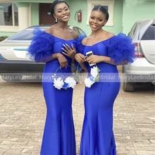 Off Shoulder Short Ruffles Sleeves Bridesmaid Dresses Royal Blue Mermaid Long Wedding Guest Dress South African Bride Robe Femme