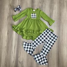 Dziecko dzień świętego patryka zielona oliwka czarna chusta shamrock strój dziewczyny wiosna bawełna góra od sukienki spodnie ubrania dopasuj akcesoria