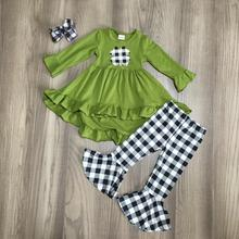 baby St. Patricks Day olive green black plaid shamrock outfit girls Spring cotton dress top pants clothes match accessories