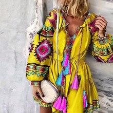 V Neck Sashes Geometric Color Block Print Vintage Dres Women Fall Lantern Sleeve Elegant Boho Holiday Dresses