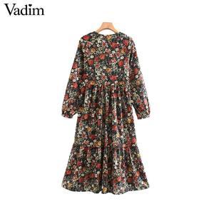 Image 2 - Vadim frauen vintage floral muster drucken midi kleid v ausschnitt langarm weibliche mode beiläufige gerade kleider vestidos QD106