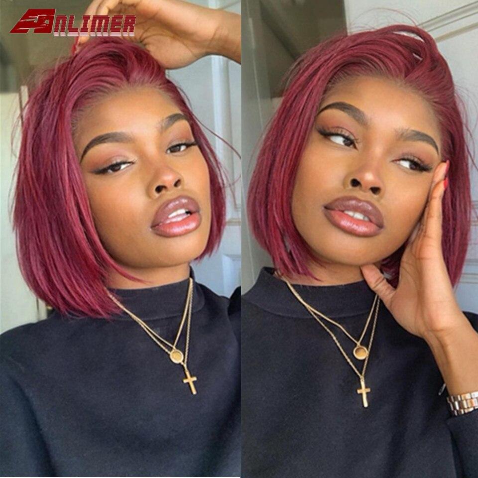 13x4 прямые волосы бордового цвета, Боб, кружевные передние парики 99J, короткие, Боб, кружевные передние человеческие волосы, бордовый, красный...