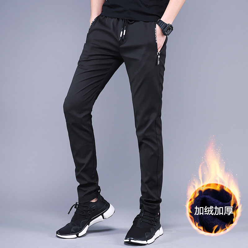 Joe Yeager Men's Winter New Style Plus Velvet Warm Black And White With Pattern Casual Pants Korean-style Fashion Youth Elastic