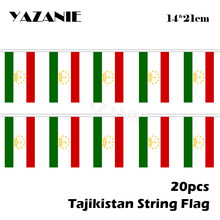 Yazanie 14*21cm 20 pçs 5 metros tajiquistão string bandeira tecido bunting casamento festival bandeira bandeira nacional país bunting