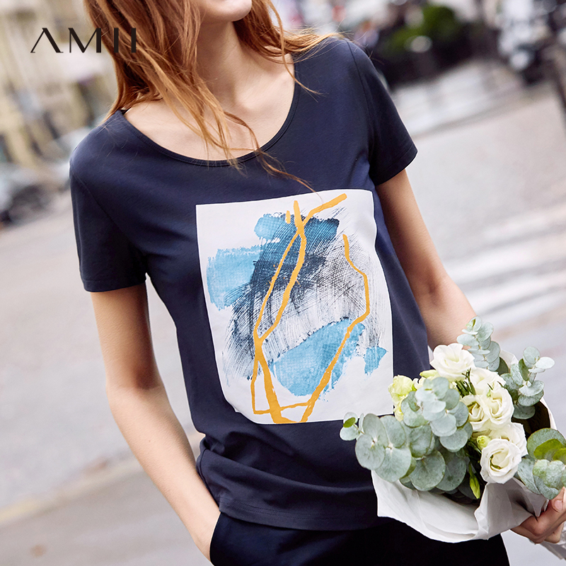 Amii Spring Women Printed T-shirt Causal Female Round Neck Short Sleeve Solid Loose Pullover Tops Tee 11960009