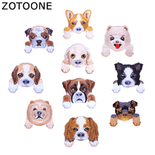 ZOTOONE 10pcs /Lot Random Dog Fashion Embroidered Patch Heat Transfers Iron on Patches for Stickers Clothing Flip Cloth DIY H zotoone rose patches iron on blooming flower stickers for clothing heat transfers diy plants patch for kids washable appliques d