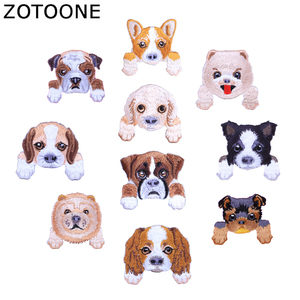ZOTOONE 10pcs /Lot Random Dog Fashion Embroidered Patch Heat Transfers Iron on Patches for Stickers Clothing Flip Cloth DIY H