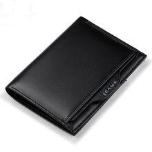 Carteira de couro ultra fino masculina moda curta multi função grande capacidade fivela clipe destacável carteira de couro carteira de motorista
