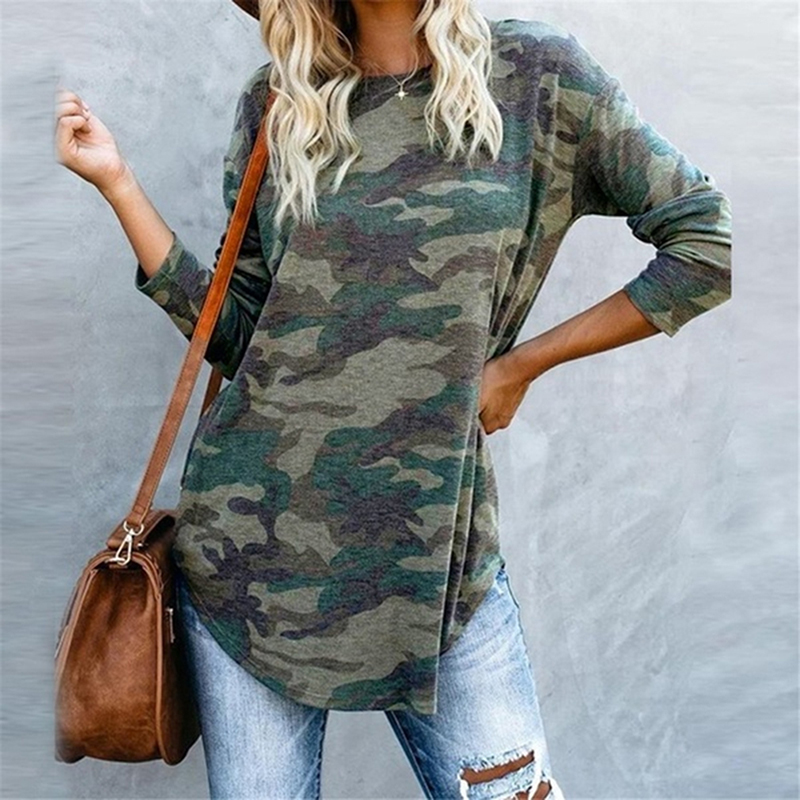 Women Casual V-Neck Camouflage Military Camo Shirt Long Sleeve T-Shirt Ladies Tops Ladies Tee
