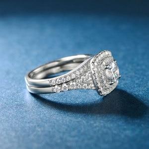 Image 3 - TKJ JEWELRY Fashion Set Rings With Big White Shiny Cubic Zircon 925 Silver 6.0mm 2pcs Wedding Ring Set for Women Gift