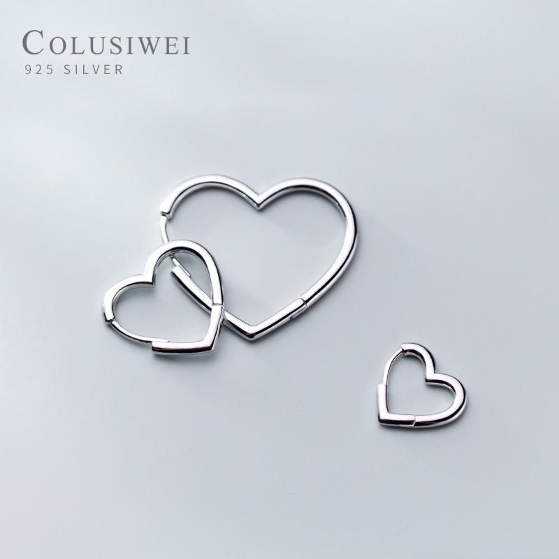 Colusiwei Fashion Genuine 925 Sterling Silver 3 Size Elegant Heart Hoop Earrings For Women Simple Design Anti Allergy Jewelry