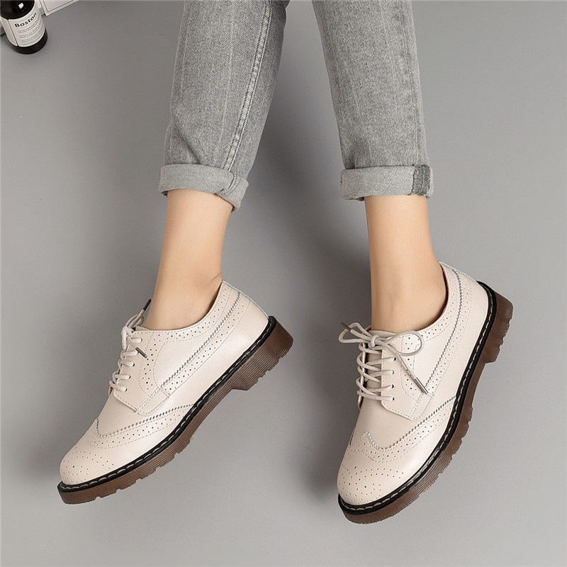 New 2019 Women Oxford Flats Shoes Genuine Leather Vintage Casual Shoes Spring Autumn Lace Up