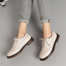 New 2019 Women Oxford Flats Shoes Genuine Leather Vintage Casual Shoes Spring Autumn Lace up(China)