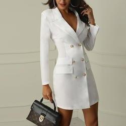 UZZDSS осенне-зимний костюм Блейзер для женщин Новый Повседневный двубортный карман женские длинные куртки элегантный блейзер с длинными