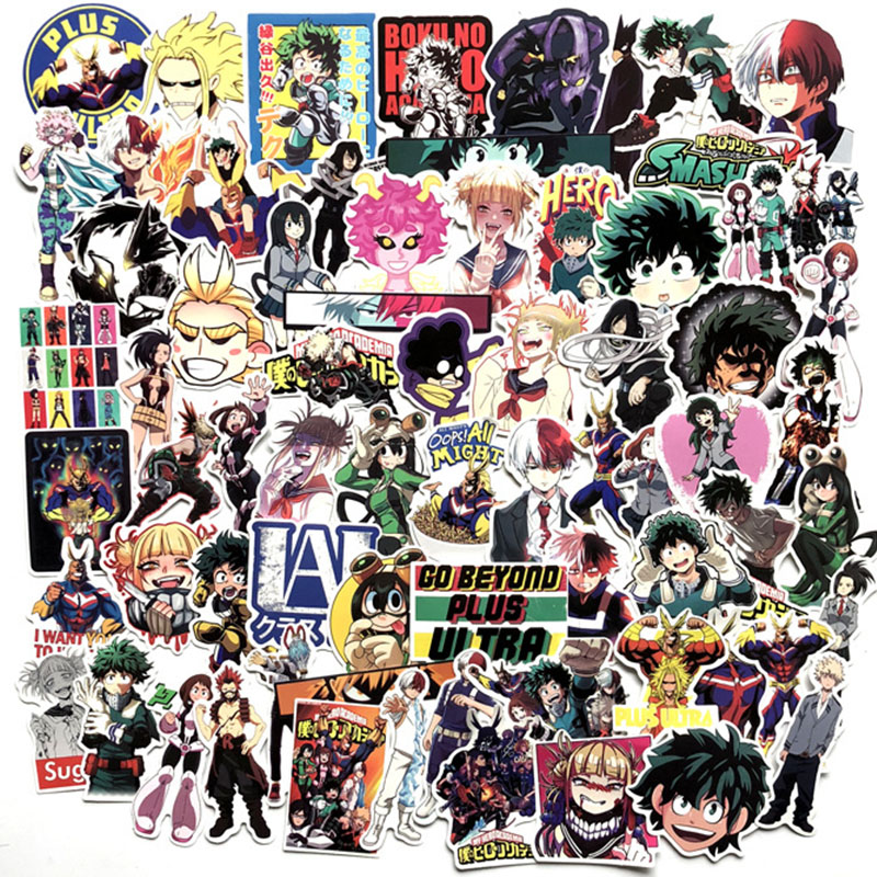 70PCS Anime My Hero Academy Cartoon Superhero Sticker Wall DIY Phone Laptop Motorcycle