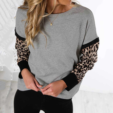 Womens Casual Leopard Patchwork Sweatshirt Spring Ladies Long Sleeve Pullover Top Autumn Woman Gray Crew Neck Daily Sweatshirt crew neck crop sweatshirt