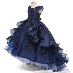 Crianças vestido de flor para a menina rendas vestidos de princesa elegantes crianças baile de formatura vestidos longos meninas adolescentes festa à noite da dama honra vestidos