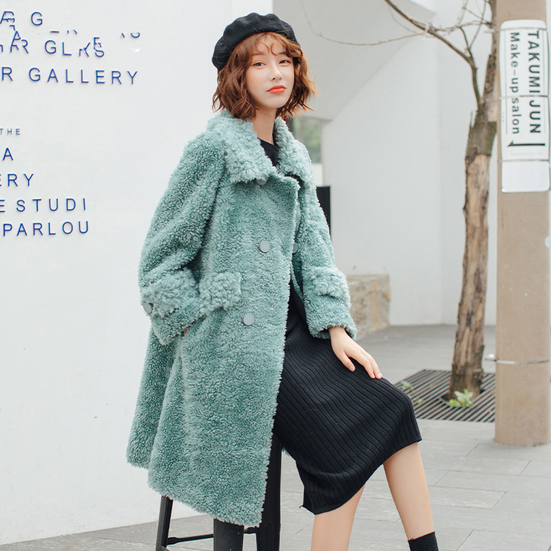 Real 2020 Fur Coat Winter Jacket Women Sheep Shearling 100% Wool Coat Female Korean Long Jackets Manteau Femme YS968923 S