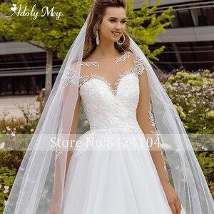 Image 5 - Adoly Mey New Elegant Scoop Neck Full Sleeve A Line Wedding Dress 2020 Luxury Beaded Appliques Court Train Bohemian Wedding Gown