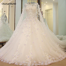 LS54770 Luxury Bridal Dress With Long Cape Ball Gown Tulle Corset Back Bling Luxury Long Train платье розовое
