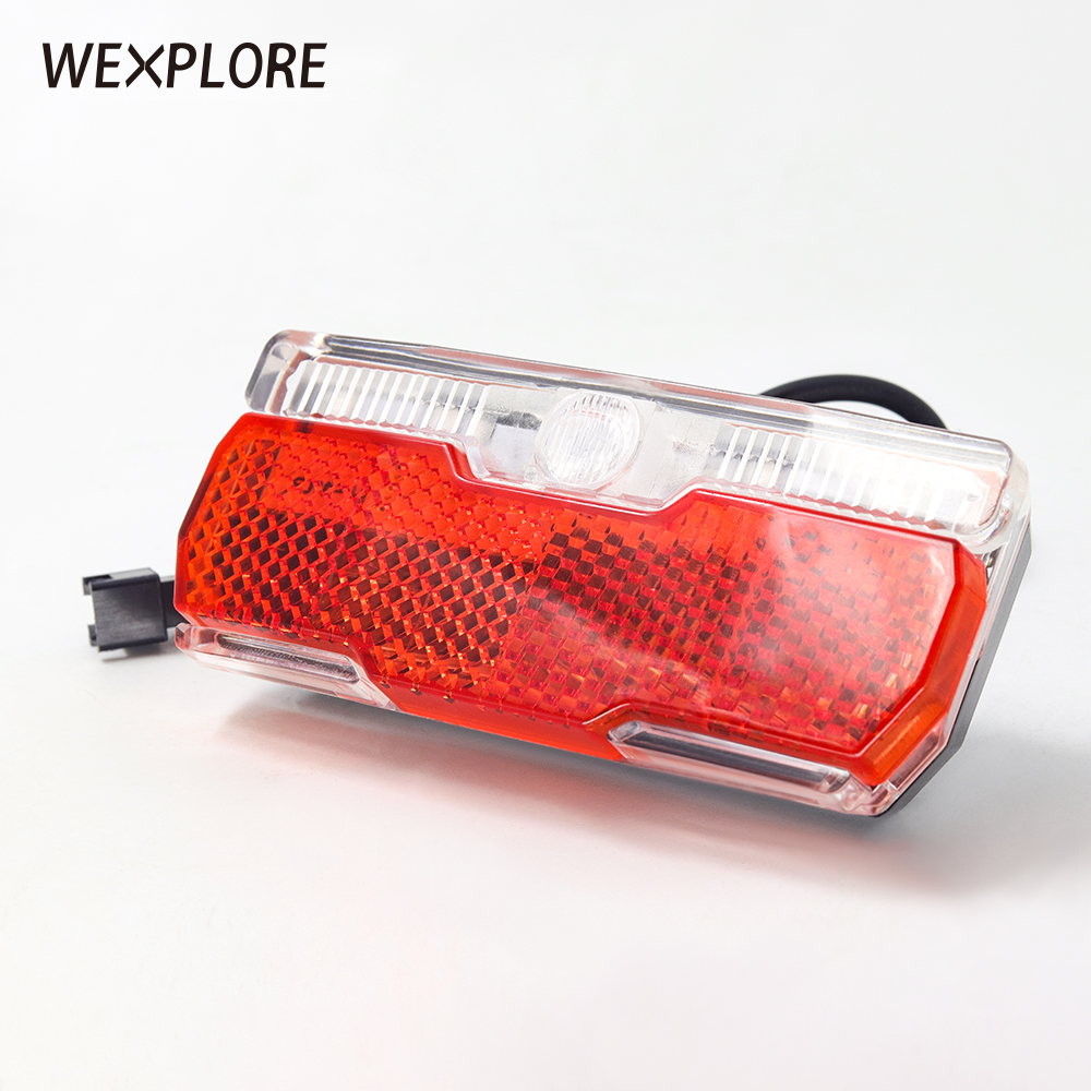 WEXPIORE Ebike Rear Light Electric Bicycle Taillight Input 12V 24V 36V 48V 60V Led Lamp With Bike Reflectors E Bike Rear Light