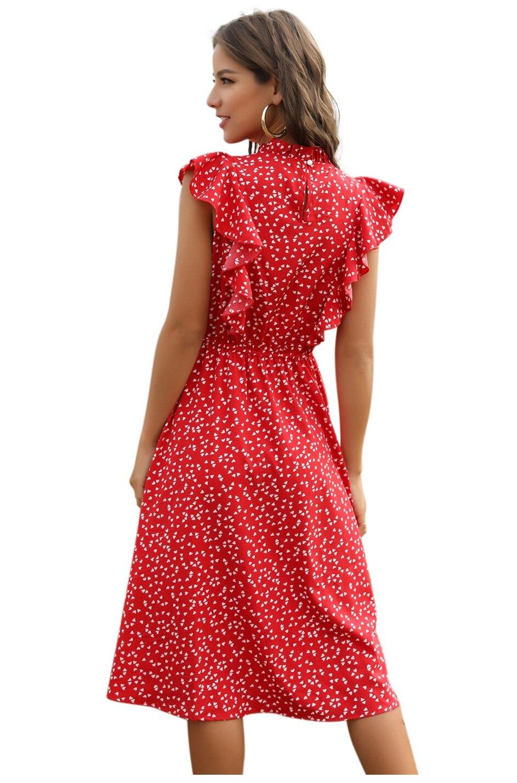 Dot Print Butterfly Sleeve Ruffles Long Chiffon Dress 10