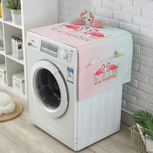 INS Flamingo Printing Waterproof And Dustproof Cover Drum Washing Machine Cover Cloth Refrigerator Dust Cover Towel Storage