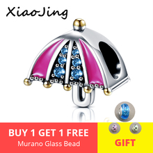 Real 925 Sterling Silver Blue CZ Rainbow Umbrella Charms with pink enamel Beads Fit pandora Bracelet DIY Jewelry for women