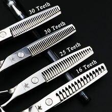 6 Polegada profissional pet tesoura cão grooming desbaste tesouras kit para animais japan440c alta qualidade 16/25/30 dentes