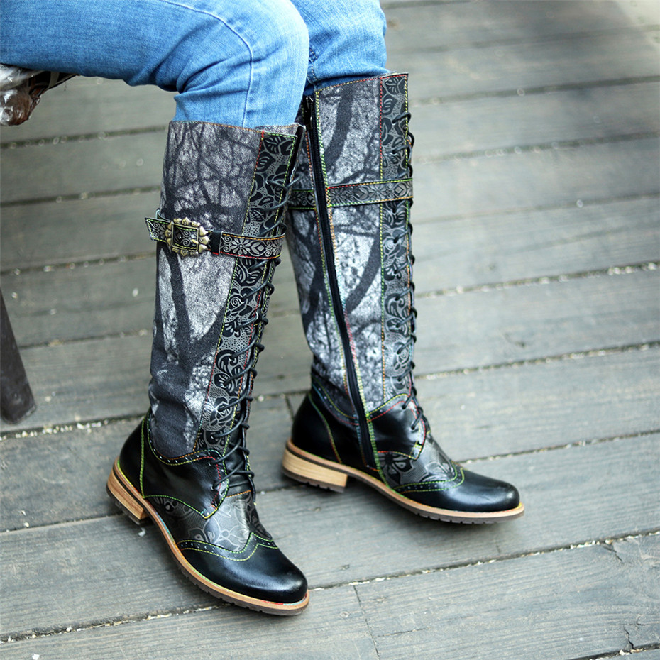 <font><b>D</b></font> Knight <font><b>2019</b></font> New Winter Retro Casual Women Knee High Boots Shoes Ethnic Flower Handmade Genuine Leather Women's Western Boots image