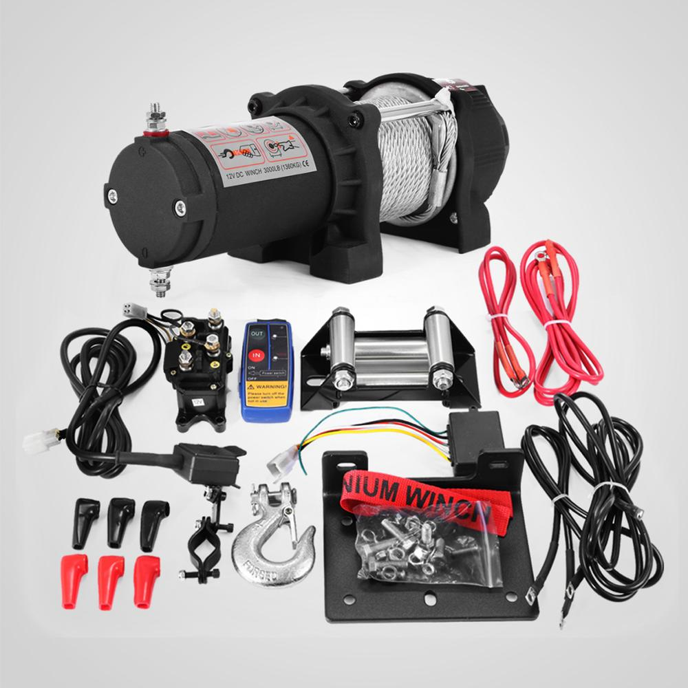 Electric ATV Recovery Winch 1360KG 3000LBS 12v Electric ATV Recovery Winch Steel Cable With Radio Remote Control For ATV UTV