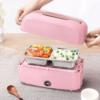 Electric Heating Vacuum Lunch Box Double Layer Thermostat Food Warmer Container Home Mini Rice Cooker 220V dmwd 1 2l mini electric cooker food heater heat preservation portable lunch box rice cooker simple steaming boiling stewing 220v