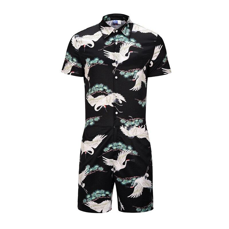 One-piece 2019 Summer Antique Style Crane 3D Printed Onesie Large Size MEN'S Short-sleeved Shirt Workwear