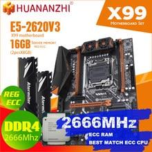 Комплект материнской платы HUANANZHI X99 BD4 DDR4 с процессором Xeon E5 2620 V3 LGA2011-3 2*8 ГБ = 16 Гб PC4 2666 МГц DDR4 память REG ECC RAM