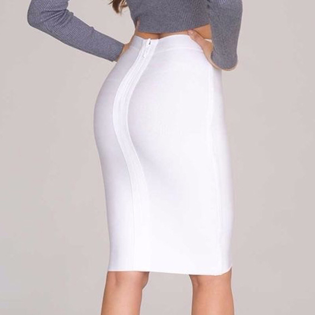 2019 Stretchy Elastic Women Knee Length Celebrity Bandage Skirts Sexy Slim Solid Color Pencil Skirt Drop Shipping HLS113 4